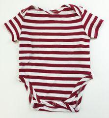 baby onesie short sleeve red/white stripes