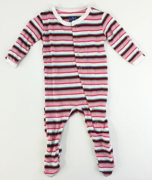 baby footie pajamas pink stripes