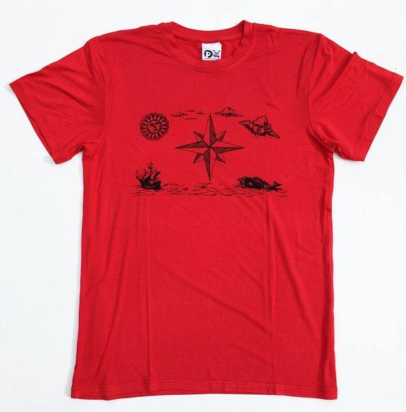Men's Outdoor Panda short sleeve Vintage Compass red T
