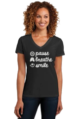 Ladies V-neck Short Sleeve Tee- Pause, Breathe, Smile