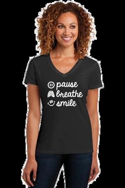 Ladies V-neck Short Sleeve Tee- Pause, Breathe, Smile
