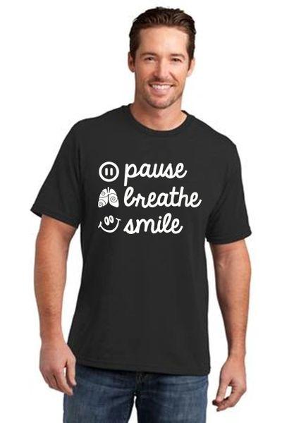 Men's/Unisex Crewneck Short Sleeve Tee- Pause, Breathe, Smile