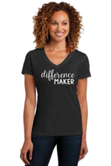 Ladies V-neck Short Sleeve Tee- Difference Maker