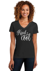 Ladies V-neck Short Sleeve Tee- Kind is Cool