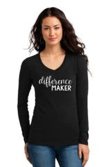 Ladies V-neck Long Sleeve Tee- Difference Maker