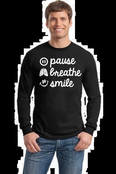 Men's/Unisex Crewneck Long Sleeve Tee- Pause, Breathe, Smile