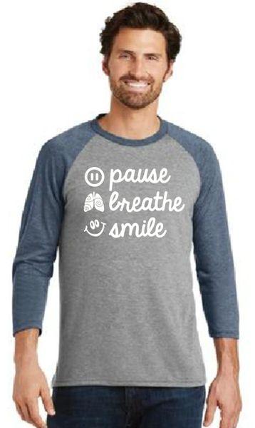 Men's/Unisex Baseball Tee- Pause, Breathe, Smile