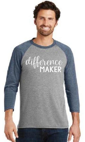 Men's/Unisex Baseball Tee- Difference Maker