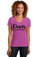 Ladies V-neck Short Sleeve Tee- Chaos Coorinator