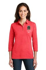 DOCR- Port Authority Ladies 3/4-Sleeve Meridian Cotton Blend Polo. L578.