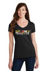 Celebrate Mt. Airy Ladies V-neck T-shirt