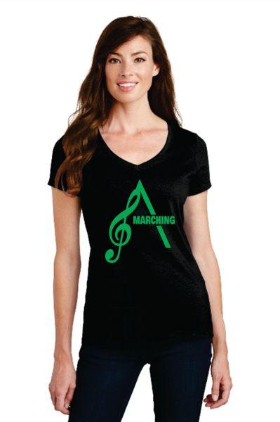 AHS Marching Band- Ladies Short Sleeve Vneck Cotton T-shirt
