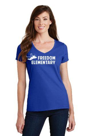 Freedom Elementary- Ladies V-Neck Short Sleeve Tee