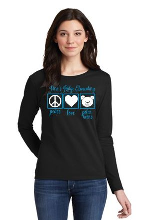 "Parr's Ridge- Ladies ""Peace, Love and Polar Bears"" Long Sleeve"