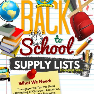 Rock Church Academy School Supply List