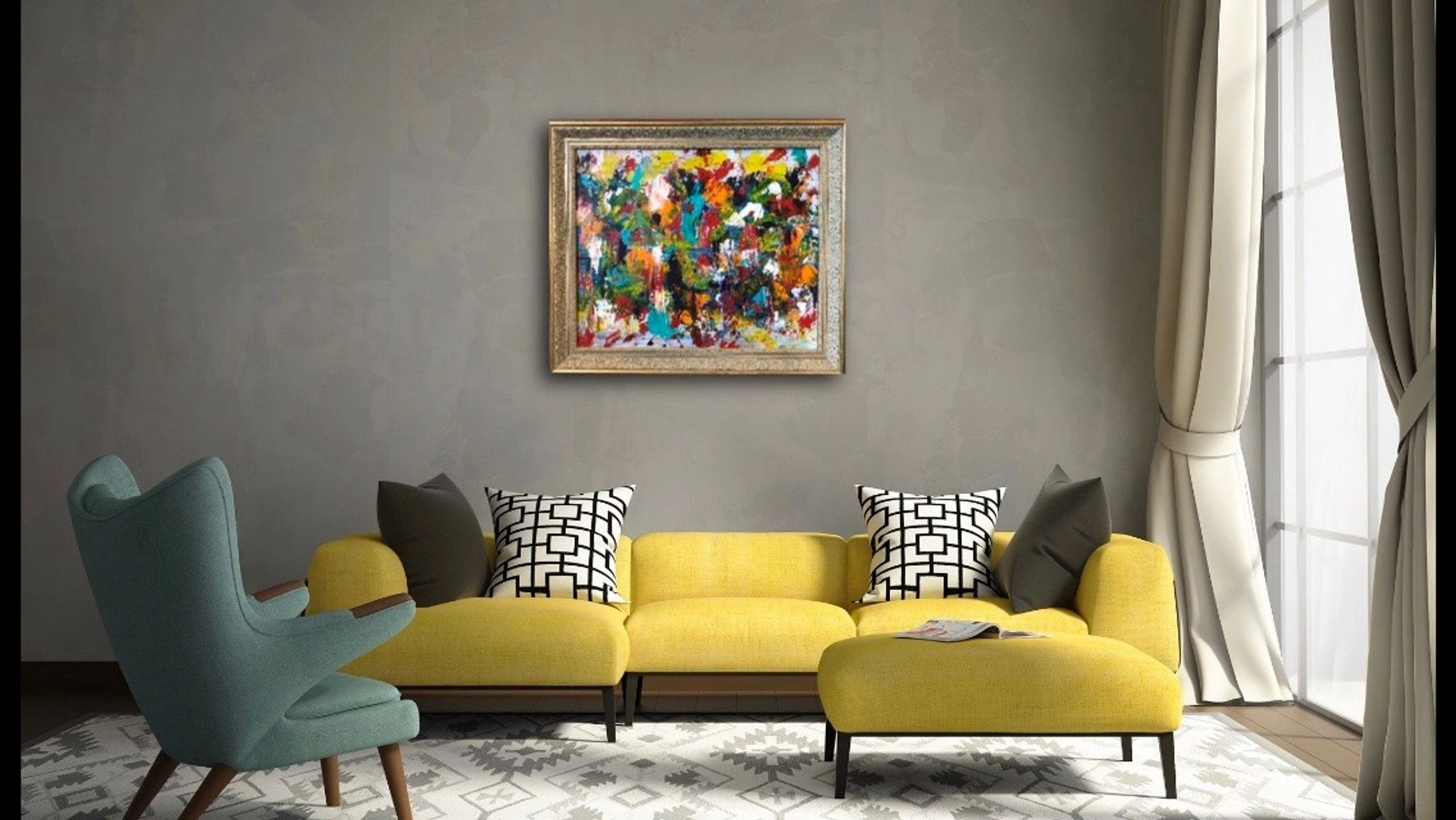 Framed Mediterranean Painting  by Noora Elkoussy set in an interior design setting.