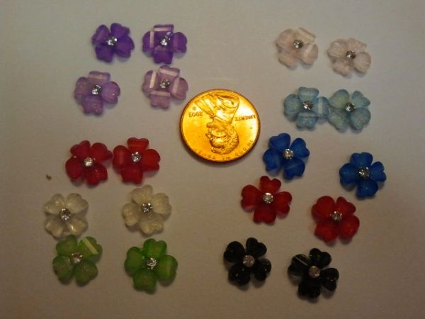 3D Flower #1 nail charm (pack of three)