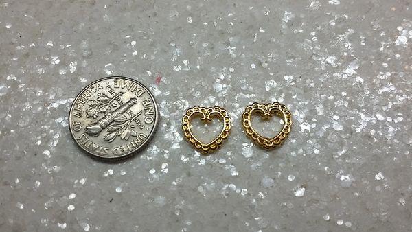 3D Heart #10 Gold Metal Heart (pack of 2)