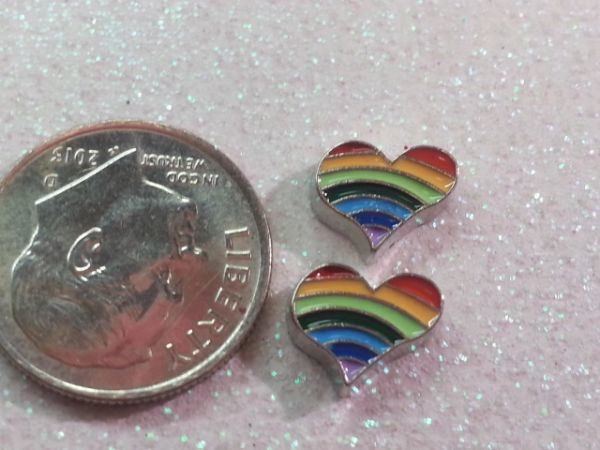 Charm #7- Rainbow Heart (perfect for nails, or living & floating lockets)(1 piece)