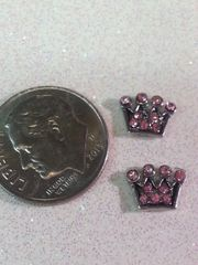 Charm - Crown with pink rhinestones ( 1 piece) (perfect for nails or living & floating lockets)