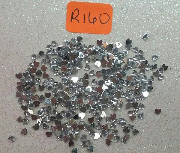 Rhinestone #R160 (silver heart rhinestone)(One pack)