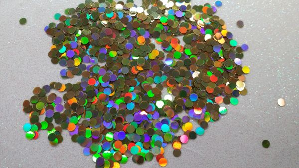 IN30 Holographic Gold .118 Dots, Glitter Insert (1.5 gr baggie)