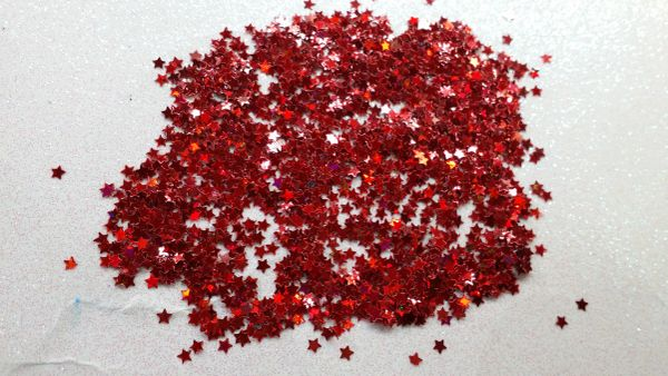 IN36 Fire Red 1/8th Star Glitter Insert (1.5 gr baggie)