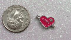 Charm #28 - Pink Heart with Love (Perfect For Floating Lockets,, Nail Decoration & Crafts)