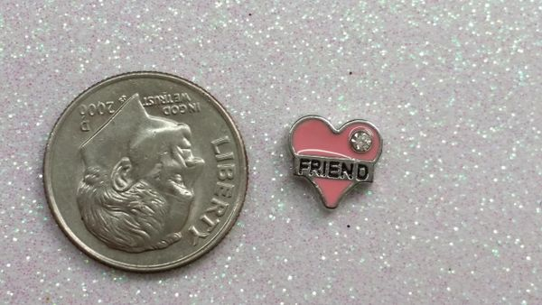 Charm #29 -Heart with Friend (Perfect For Floating Lockets,, Nail Decoration & Crafts)