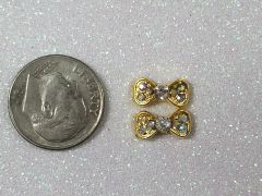 3D Bow #75 Gold Bow with Rhinestones (pack of 2)