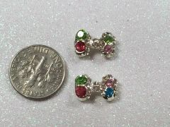 3D Bow #82 Silver Bow with Multi Colored Stones (pack of 2)
