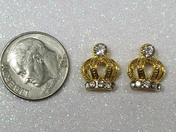 3D Crown #13 Gold Crown with Rhinestones (pack of 2)