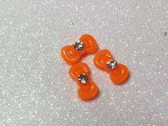 Bow #89 Orange Bow with a rhinestone (pack of 3)