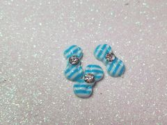 Bow #90 Blue & White Striped Bow with a rhinestone (pack of 3)