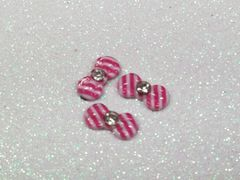 Bow #91 Pink & White Striped Bow with a rhinestone (pack of 3)