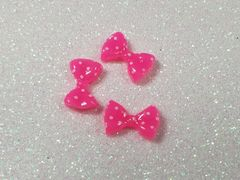 Bow #92 Pink & White Polka Dot Bow (pack of 3)