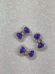 Bow #104 Purple Bow with a rhinestone (pack of 3)