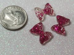 Bow #106 Pink Glitter Bow (pack of 3)