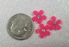 3D Flower #14 Pink with Rhinestone (pack of 3)
