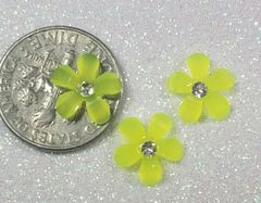 3D Flower #15 Yellow with a Rhinestone (pack of 3)