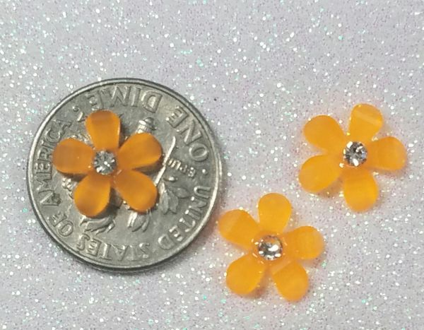 3D Flower #16 Orange with a Rhinestone (pack of 3)