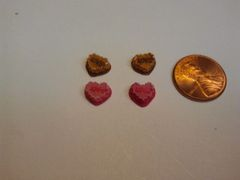 3D Food Cake #1 nail charms shaped in a heart (Pack of three)