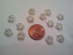 3D Crown #2, Silver crown nail charm with pearls on the bottom (pack of 2)