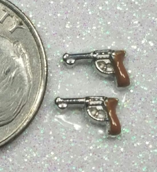 Charm #FL73 - Brown Guns (2 pieces)(perfect for nails, or living & floating lockets)