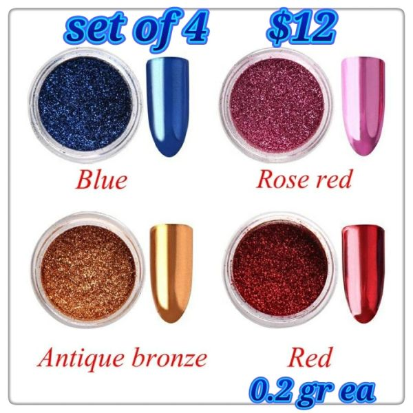 Set of 4 Chrome Powders (0.2 gr each)(red, blue, bronze, pink)