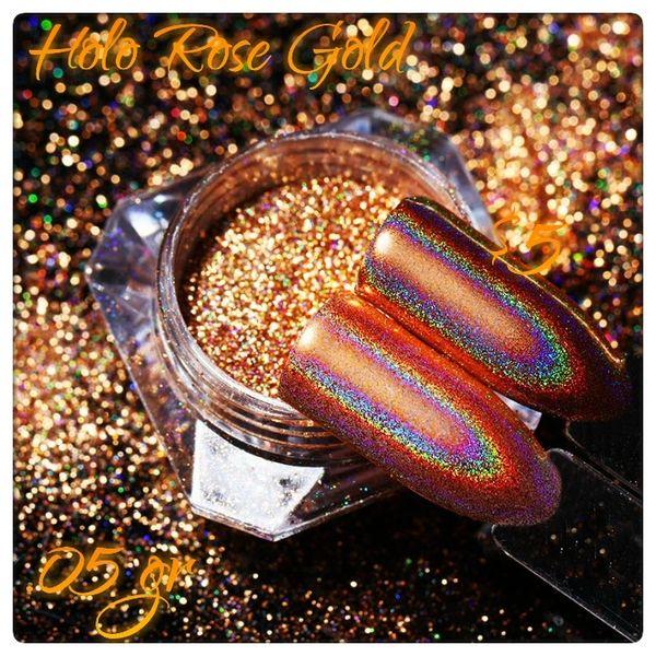 Holographic Rose Gold Chrome Powder (0.5 gr)