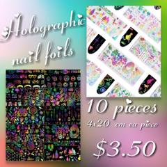 10 Piece Holographic Foil Set (4×20 cm ea piece)