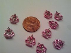3D Crown #3 Pink Metal Crown for nail decoration (pack of 2)