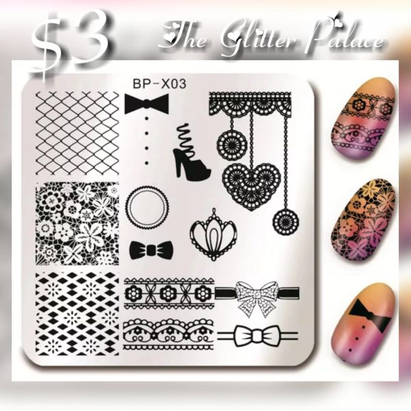 Stamping Plate (BP-X03) fishnet, lace, bows