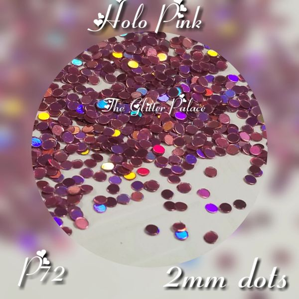 IN24 (P72) Holographic Pink 2mm Dots, Glitter Insert (1.5 gr baggie)